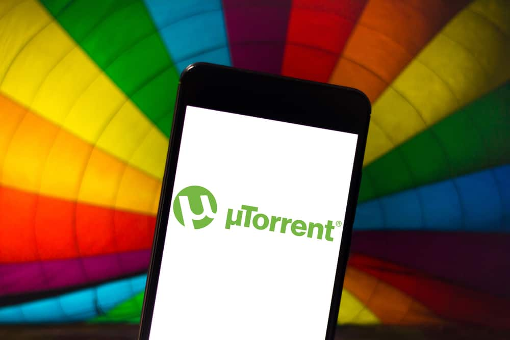 April 22, 2019, Brazil. UTorrent logo on Android mobile device. uTorrent is a download manager that uses the BitTorrent protocol